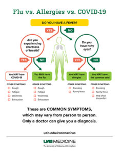 Illustration of Symptoms Of The Common Cold And Covid-19 Virus