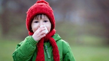 Illustration of Children Aged 3 Years Coughing Colds