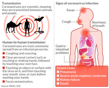 Illustration of Possible Infection With Corona Virus During Fever, Cough And Bone Pain
