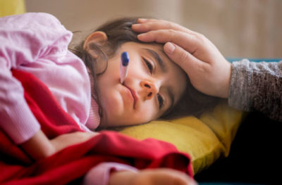 Illustration of Cough, Runny Nose, Fever And Vomiting At Night In Children Aged 3 Years?