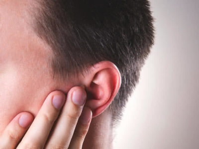 Illustration of Initially Itchy Left Ear, Then Scratched Using Hands. It Doesn't Take Long To Get Sick And There Is Fluid?