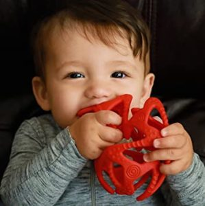 Illustration of Selection Of Teether Material For Babies Aged 3 Months?