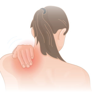 Illustration of How To Cure The Pain Under The Shoulder Blade Down And A Little Tight When Eating?