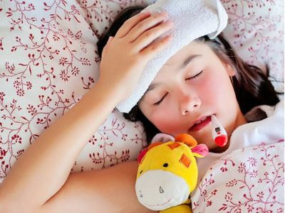 Illustration of Up And Down Fever In Children, Vomiting, Diarrhea, Body Feels Cold And Weak?