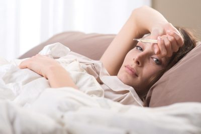 Illustration of Fever Is Accompanied By Abdominal Pain, Chills, Body Weakness And No Appetite?