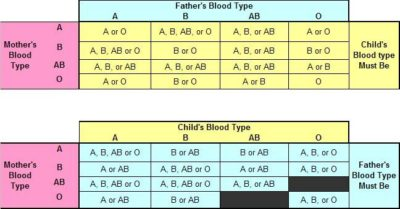 Illustration of The Blood Type Of Child A From Parents Is Blood Type O And B?