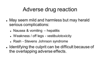 Illustration of Nausea And Weakness After Taking Anti-tuberculosis Drugs?