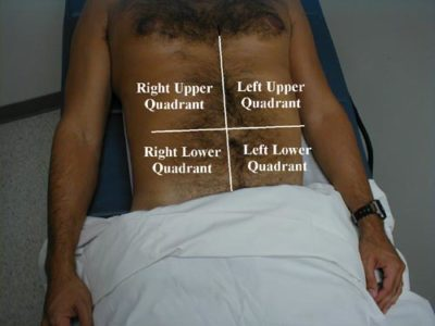 Illustration of Examination Of The Right Abdomen And Chest?