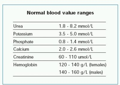 Illustration of Blood Lab Test Results For Renal Creatinine Values?