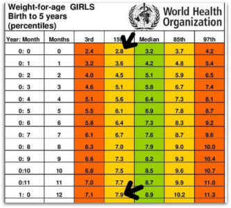 Illustration of 1 Year Old Child Weight Is Still 8 Kg?