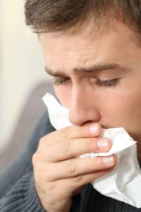 Illustration of Runny Nose And Cough With Phlegm Accompanied By Bloody Mucus From The Nose?
