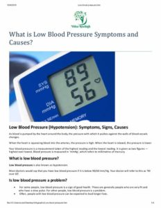 Illustration of Causes And Treats Low Blood Pressure?